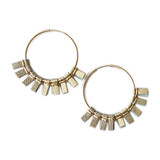 Metallic gold and tan suede medium hoop earrings