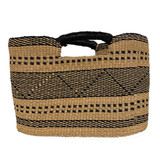 Tropical grass woven tote with black and natural designs
