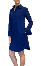 Bright blue long sleeve shirt dress with pockets