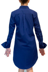 Bright blue long sleeve shirt dress back