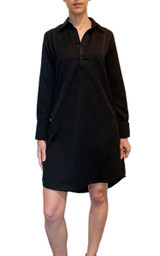 Black cotton/silk long sleeve shirt dress