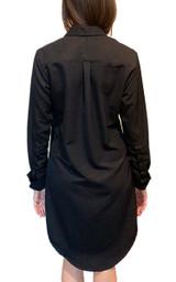 Black cotton/silk boyfriend style long sleeve shirt dress back