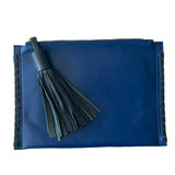 Royal blue clutch with navy trim and tassel