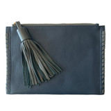 Slate blue clutch with grey trim and tassel