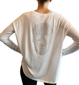White skull long sleeve tee