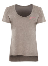 Pink lips, muax embroidery, on a sable brown tee
