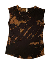 Black bleach dyed sleeveless tee