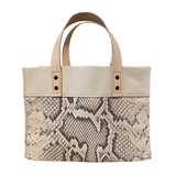 Snake print mini canvas tote
