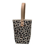 Leopard print wine tote with leather handle