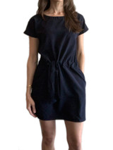Navy short sleeve dress with pockets