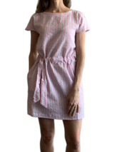 Pink seersucker short sleeve dress with pockets