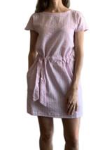 Pink seersucker short sleeve dress with pockets