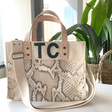 Snake print mini canvas tote with leather letter monogram