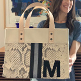 Snake print mini canvas tote with leather monogram and glitter stripes