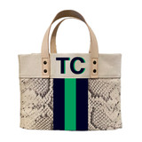 Snake print mini canvas tote with hand painted monogram and 3 stripes rendering *not an actual painted bag