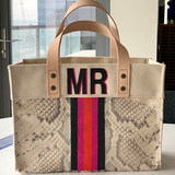 Snake print mini canvas tote with hand painted monogram and 5 stripes