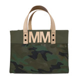 Camo mini canvas tote with natural leather letter monogram