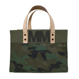 Camo canvas tote with black leather letter monogram