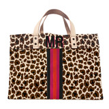 Hand painted leopard tote with two letters and five stripes