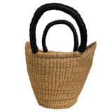 Woven grass tote with leather handles