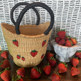 Hand painted strawberries bucket tote