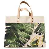 Metallic gold leather double corner monogram on palm leaf print canvas large market tote