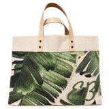 Green leather double corner monogram on palm leaf print canvas large market tote