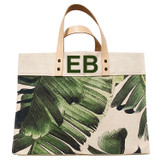 Green leather double top monogram on palm leaf print canvas large market tote
