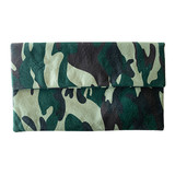 Washed green camo clutch