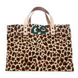 Double letter top monogram on leopard print large canvas market tote