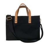 Black canvas mini tote with black strap