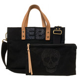 Black canvas mini tote with skull zip pouch