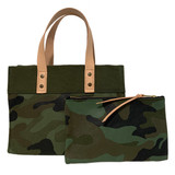 Camo canvas mini tote and zip pouch set