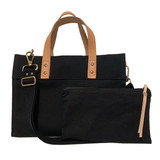 Black canvas mini tote set