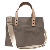 Storm cloud grey canvas mini tote with crossbody strap