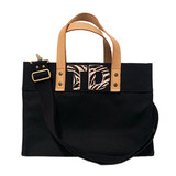 Black mini canvas tote with zebra print cowhide letter monogram