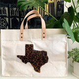 Leopard Texas tote - large natural canvas market tote