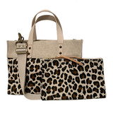 Leopard canvas mini tote and zip pouch set