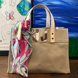 Grey mini canvas tote with zebra print cowhide letter monogram