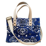 Bandana print navy canvas mini tote