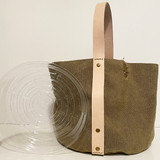 Garden tote with plastic tray insert