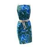 Blue floral garden apron front