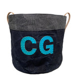 Waxed denim home and garden storage tote with monogram