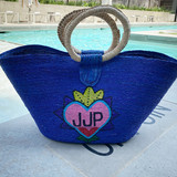 royal blue beach tote with heart monogram