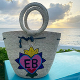 Straw bucket tote with drawstring and heart monogram