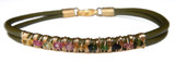 Olive Leather Bracelet with Multi-color Tourmaline