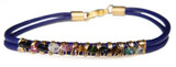 Navy Leather Bracelet with Multi-color Tourmaline