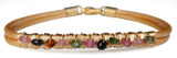 Metallic Gold Leather Bracelet with Multi-color Tourmaline
