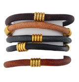 Natural Tonal Leather Bracelet Set