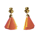 Coral suede flower tassel post earrings